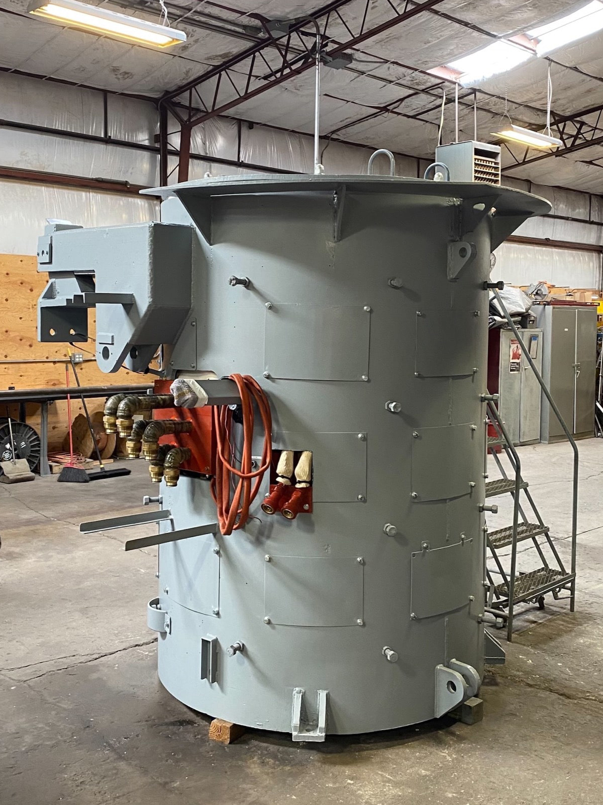 Fully rebuilt 6 Ton Steel Shell Furnace with new induction coil